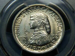 1921 50C MISSOURI 2X4 SILVER COMMEMORATIVE HALF DOLLAR MS 63 PCGS NICE COIN