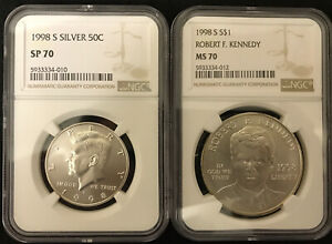 Click now to see the BUY IT NOW Price! PERFECT SET   1998 S NGC SP70 KENNEDY HALF AND RFK DOLLAR SET