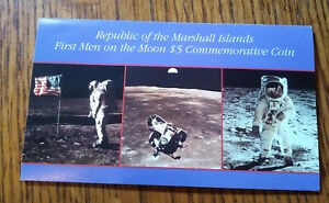1989 MARSHALL ISLANDS $5.00 COMMEMORATIVE COIN   FIRST MEN ON THE MOON APOLLO 11