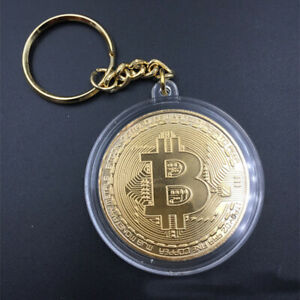 1PC GOLD PLATED COLLECTIBLES KEYCHAIN KEY RING METAL ALLOY BITCOIN ART GIFT