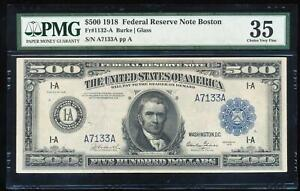 Click now to see the BUY IT NOW Price! FR.1132 A 1918 $500 FEDERAL RESERVE NOTE BOSTON PMG35 VF
