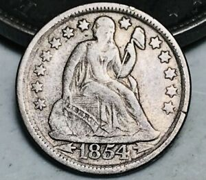 1854 SEATED LIBERTY DIME 10C ARROWS UNGRADED GOOD DATE 90  SILVER US COIN CC6503