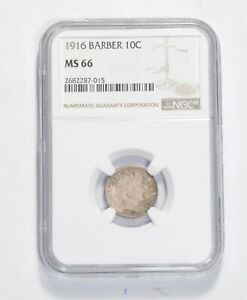 MS66 1916 BARBER DIME   NGC GRADED  0092
