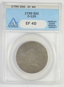 EF40 1795 FLOWING HAIR HALF DOLLAR   O 125   GRADED ANACS  7754