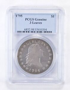 1795 FLOWING HAIR SILVER DOLLAR   3 LEAVES   GRADED PCGS  4335