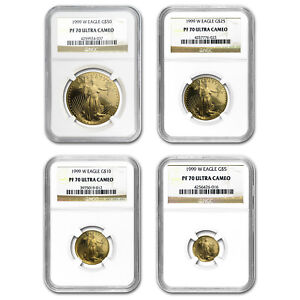 Click now to see the BUY IT NOW Price! 1999 W 4 COIN PROOF GOLD AMERICAN EAGLE SET PF 70 NGC   SKU98588