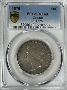Click now to see the BUY IT NOW Price!  1870 NO LCW  PCGS GRADED CANADIAN 50 CENT   XF 40   151 YEARS OLD