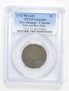 F DETAILS 1793 FLOWING HAIR LARGE CENT   WREATH VINE & BARS EDGE   PCGS  5559
