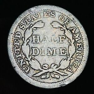 1855 SEATED LIBERTY HALF DIME 5C ARROWS UNGRADED WORN DATE SILVER US COIN CC6720