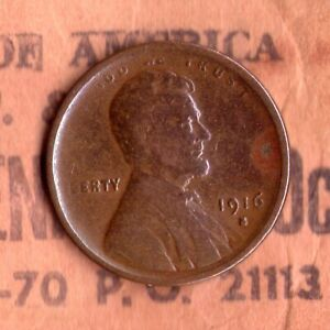1916 S CIRCULATED PENNY >FILLER< MINTAGE:22 510 000   16S0421