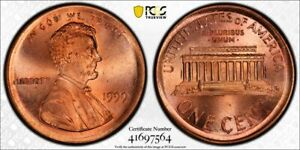 Click now to see the BUY IT NOW Price! 1999 1C LINCOLN CENT BROADSTRUCK ERROR  PCGS MS66RD