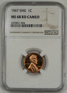 Click now to see the BUY IT NOW Price! 1967 SMS LINCOLN MEMORIAL CENT PENNY 1C NGC MS 68 RED MINT UNC   CAMEO  004