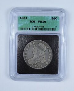 VG10 1831 CAPPED BUST HALF DOLLAR   GRADED BY ICG  9085