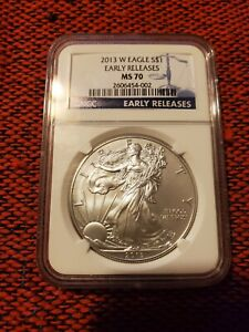 2013 W BURNISHED AMERICAN SILVER EAGLE EARLY RELEASES NGC MS 70 PERFECT