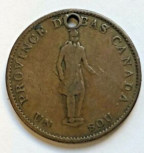 1837 CANADA BANK TOKEN 1/2 PENNY BANQUE DU PEUPLE HOLED CIRCULATED UNGRADED