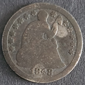 USA SEATED LIBERTY HALF DIME 1848 O SILVER NEW ORLEANS