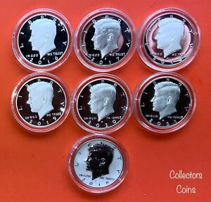 2016   2021 KENNEDY HALF 7 COIN S SILVER PROOF SET INCLUDING 2018 REVERSE
