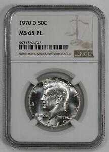1970 D KENNEDY HALF DOLLAR 50C NGC MS 65 PL MINT STATE UNC PROOF LIKE  043