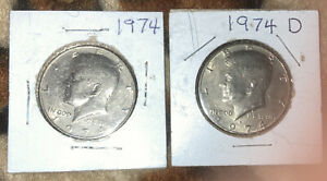 1974 D AND 1974 P  KENNEDY HALF DOLLARS  COMPOSITION IS COPPER NICKEL CLAD