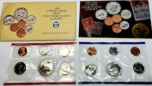 1990 P &D US MINT SET UNITED STATES ORIGINAL GOVERNMENT PACKAGING CELLO 10 COINS