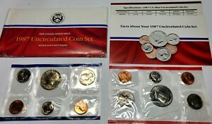 1987 UNITED STATES US MINT UNCIRCULATED SET 10 BEAUTIFUL COINS IN ORIGINAL CELLO