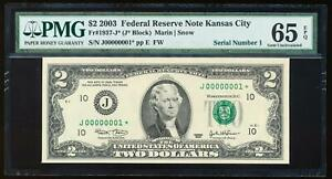 Click now to see the BUY IT NOW Price! 2003 $2 FED RESERVE NOTE KANSAS CITY PMG65 EPQ SERIAL NUMBER 1 STAR