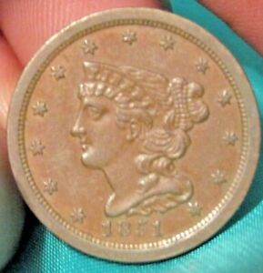 1851 UNCIRCULATED HALF CENT  BROWN  BEAUTIFUL COIN  NOT BEEN CLEANED