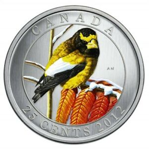 Click now to see the BUY IT NOW Price! CANADA 25 CENTS QUARTER COLORED COIN BIRDS FAUNA EVENING GROSBEAK 2012