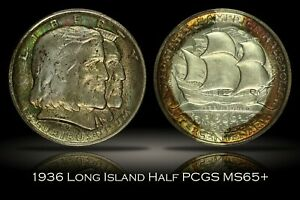 Click now to see the BUY IT NOW Price! TAB TONING 1936 LONG ISLAND COMMEMORATIVE HALF DOLLAR PCGS MS65