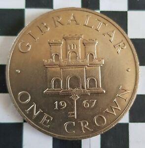 UNCIRCULATED GIBRALTAR 1967 ONE CROWN COIN
