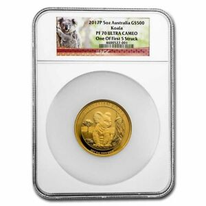 Click now to see the BUY IT NOW Price! 2017 P AUSTRALIA 5 OZ GOLD KOALA PF 70 NGC  ONE OF 1ST 5 STRUCK    SKU235610