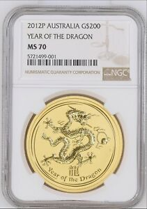 Click now to see the BUY IT NOW Price! 2012 2OZ GOLD YEAR OF THE DRAGON NGC MS 70 POPULATION ONLY 11LY