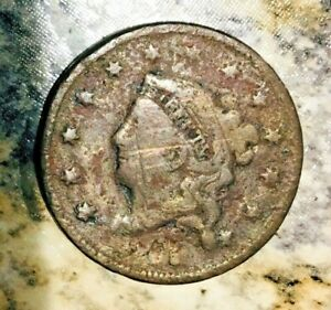 1835 CORONET HEAD LARGE CENT AG SCRATCHES