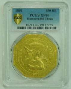 Click now to see the BUY IT NOW Price! 1851 US ASSAY 880 GOLD HUMBERT $50 SLUG PCGS XF40  OLD UNITED STATES COIN