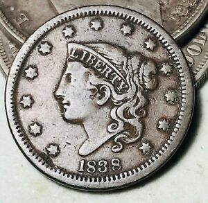1838 LARGE CENT CORONET HEAD 1C UNGRADED GOOD DATE EARLY US COPPER COIN CC8656