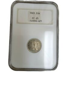 1883 3CN PROOF THREE CENT NICKEL COIN NGC PF 65