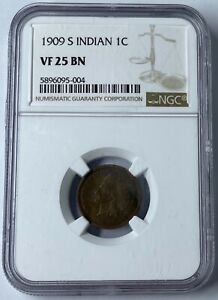 1909 S 1C INDIAN HEAD CENT NGC VF25 BN