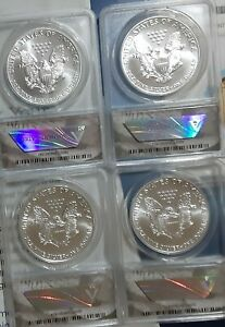 1986 1992 SILVER EAGLE LOT  7 COINS  ANACS MS69 ALL CLEAN & WHITE