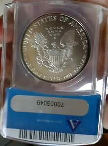 1995 SILVER EAGLE ANACS MS69 BLUE COLRED PERIPHERAL