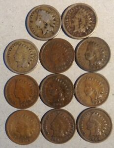 INDIAN CENT   LOT OF 11 1861 1862 NO DATE 1900 1903 1905 1908