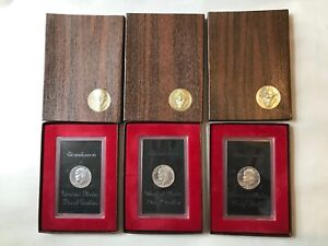 LOT OF 3 1971 S EISENHOWER BROWN IKE PROOF SILVER DOLLARS IN BOXES
