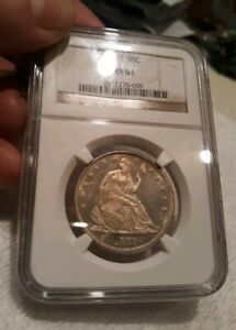 1877 50C SEATED LIBERTY HALF DOLLAR NGC MS 61 GREAT BLACK & WHITE CONTRAST DMPL