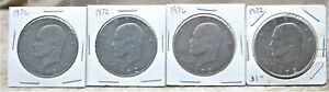 1972 $1 EISENHOWER DOLLAR CIRCULATED 4 COINS CONDITION VARY