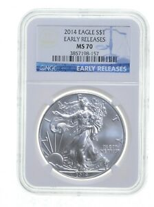 2014 ER NGC MS70 $1 AMERICAN SILVER EAGLE BLUE LABEL   EARLY RELEASE