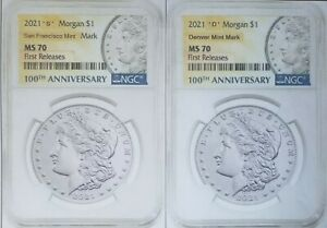 2021 MORGAN DOLLAR S & D MINT MARK'S NGC MS70 FIRST RELEASES BOTH COINS PRESALE
