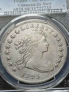 1795 DRAPED BUST DOLLAR CENTERED PCGS AU DETAILS FULL CHEST FEATHERS