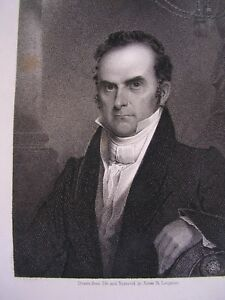 DANIEL WEBSTER 1800S ANTIQUE.DRAWN FROM LIFE AND ENGRAVED BY JAMES. B.LONGACRE