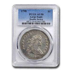 Click now to see the BUY IT NOW Price! 1798 DRAPED BUST DOLLAR AU 50 PCGS  LARGE EAGLE DOUBLE STRUCK    SKU200026