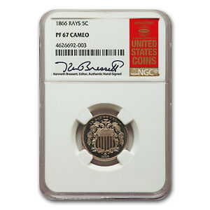 Click now to see the BUY IT NOW Price! 1866 SHIELD NICKEL PF 67 CAMEO NGC  RAYS    SKU189890