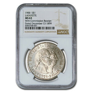 1900 LAFAYETTE DOLLAR MS 63 NGC   WITH COMMISSION RECEIPT    SKU237988